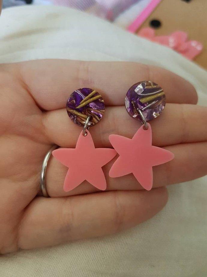 Cute Stars! - Pastel Pink Cute Stars and Purple Patterned Stud dangle earrings