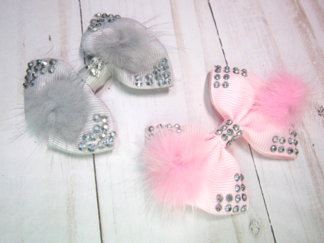 "Fluffy Fur Bling Ribbon Bow - 2.5"" Grey, Pink"