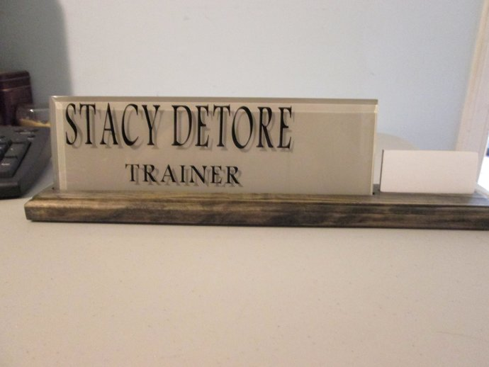 Wood name plate with business card by wicked woodworxs shop on zibbet wood name plate with business card holder desk name plaque office nameplate colourmoves