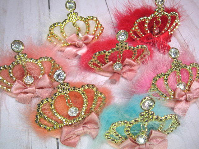 "Fuzzy Fur Dangle Bling Crown Embellishment - 2"" Many Colors"