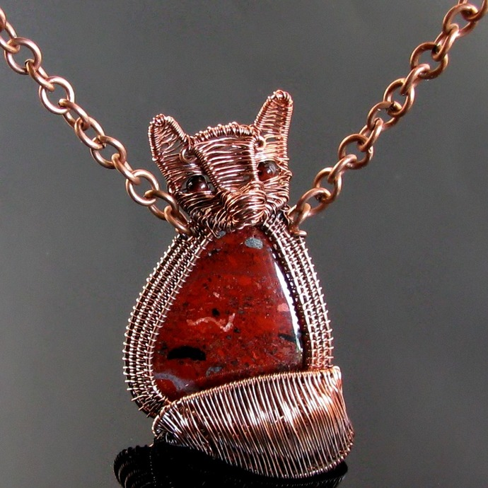 Tammy - Wire woven fox pup pendant with snakeskin jasper