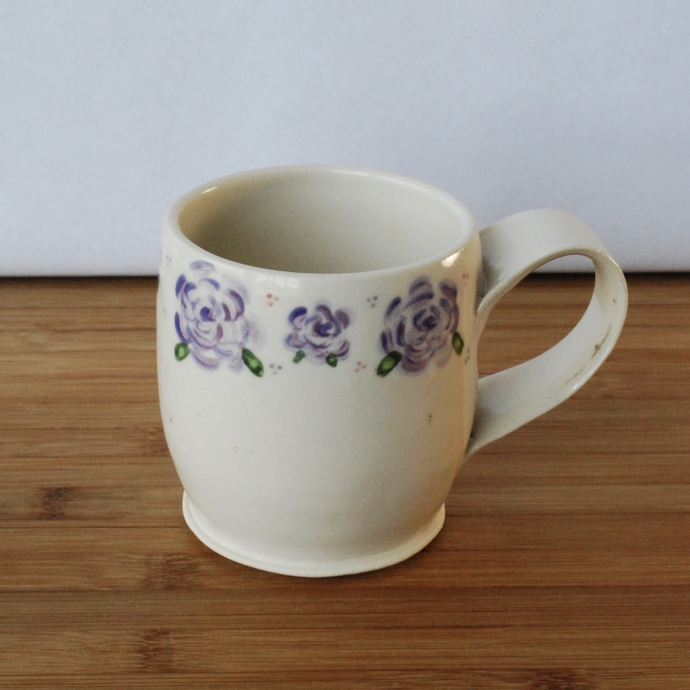 Handmade Ceramic Mug with Purple Roses