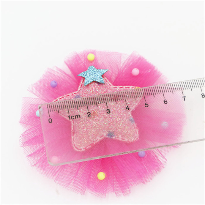 """stl Adorable Cutie Tulle Crown/Star Embellishment - 2 1/4"""" Many Colors"""