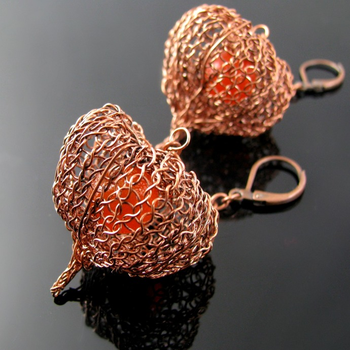 Wire knit Chinese Lantern earrings