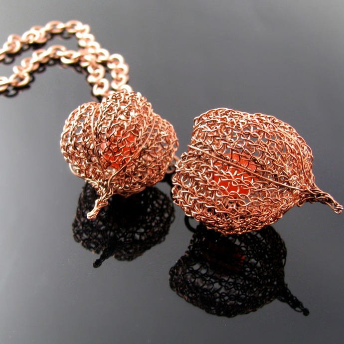 Wire knit Chinese Lantern necklace