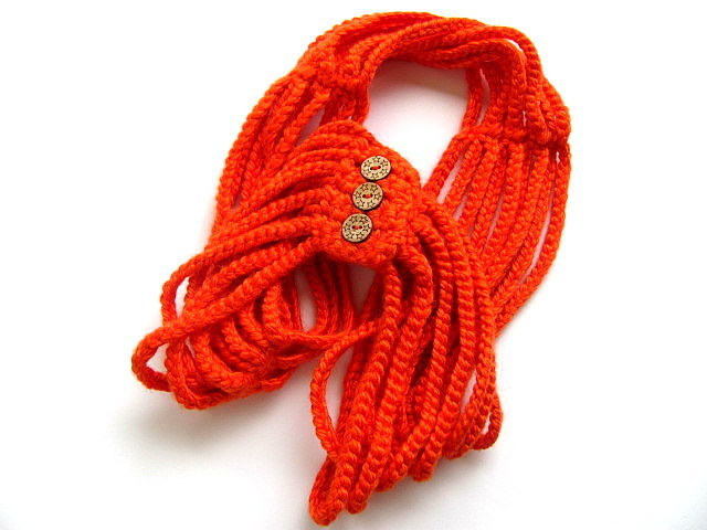 True Orange Crochet Cowl Scarf