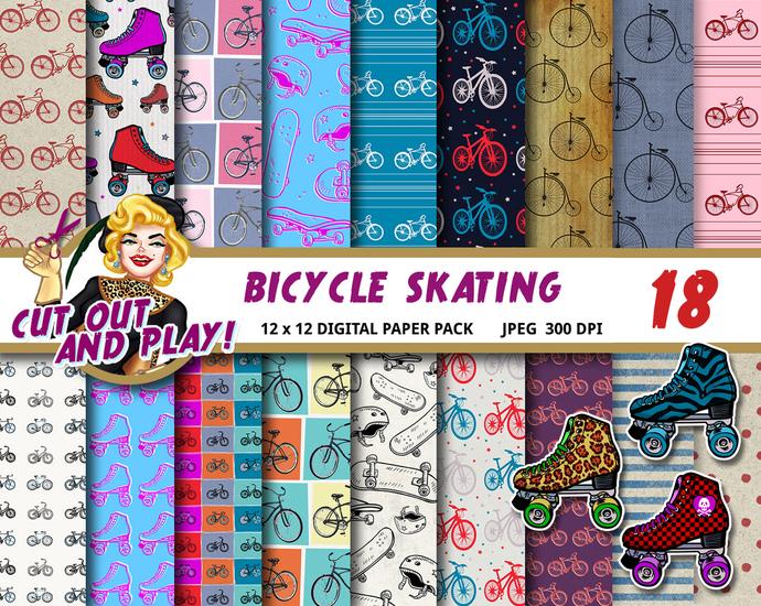 Bicycle digital paper, roller skate clipart, skateboard paper, rollerskating,