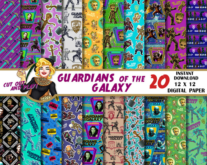 Guardians of the galaxy digital paper, Guardians of the galaxy party, Groot,