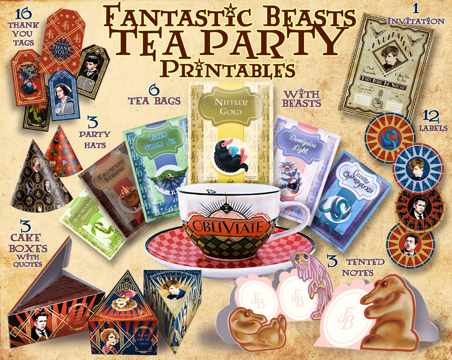 fantastic beasts party printables  tea by cutoutandplay on
