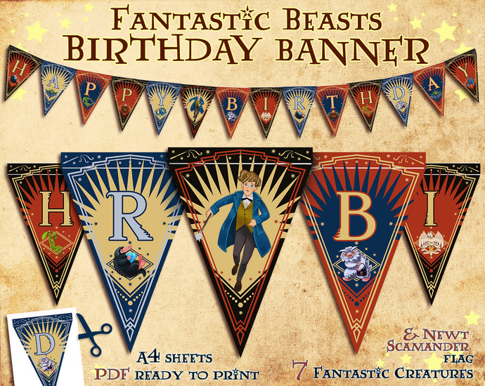 Fantastic Beasts Party Printables, Tea party, Invitation, Niffler, Harry Potter