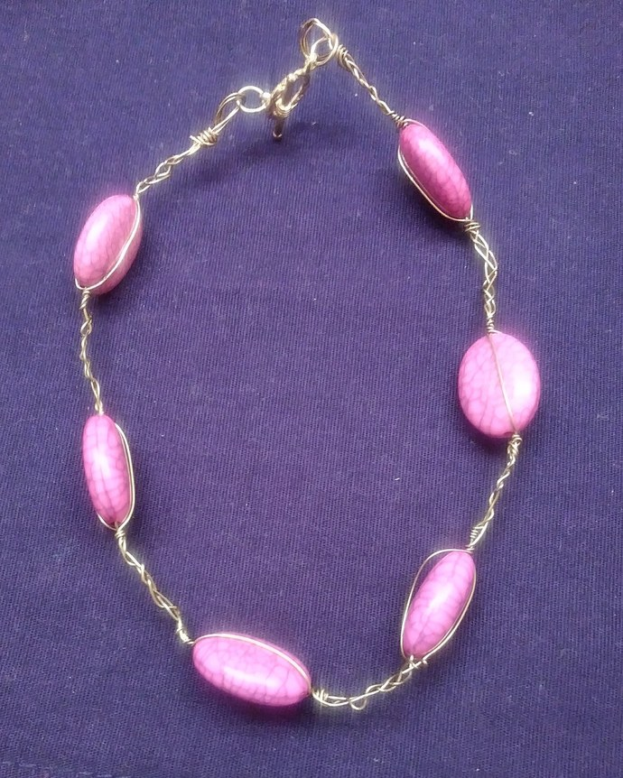 Pink and gold kids necklace