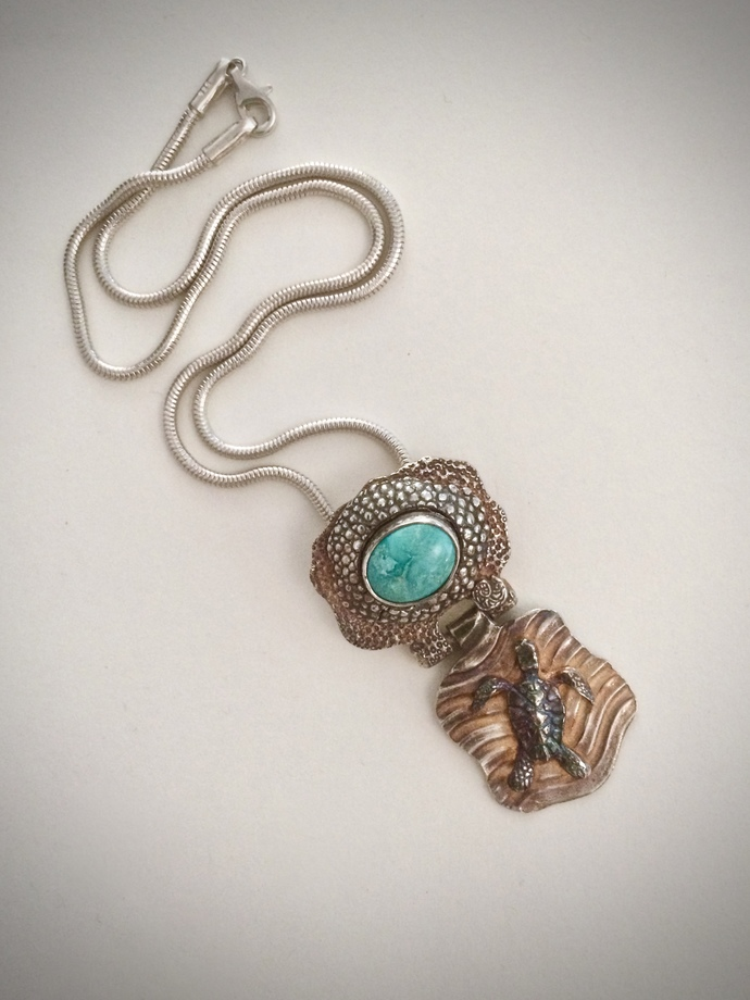 Royston turquoise necklace, sea turtle talisman, turtle necklace, totem, OOAK