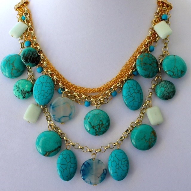 Multi-tier necklace with turquoise howlite, chalcedony, dragon vein stones