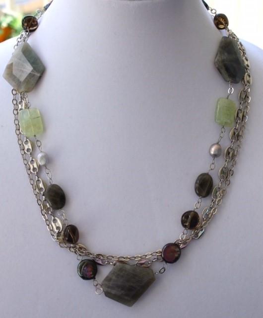 Multi-tier necklace with labradorite, smokey quartz,  pearls and prehnite