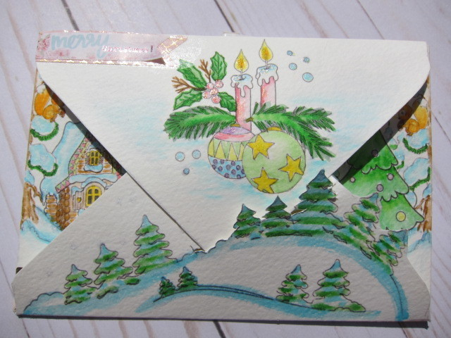 Xmas Water-colored Envelope Russian Fairy Tail Motifs