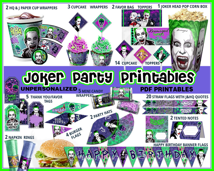 Joker party printables, Suicide Squad party favors, birthday banner, cupcake