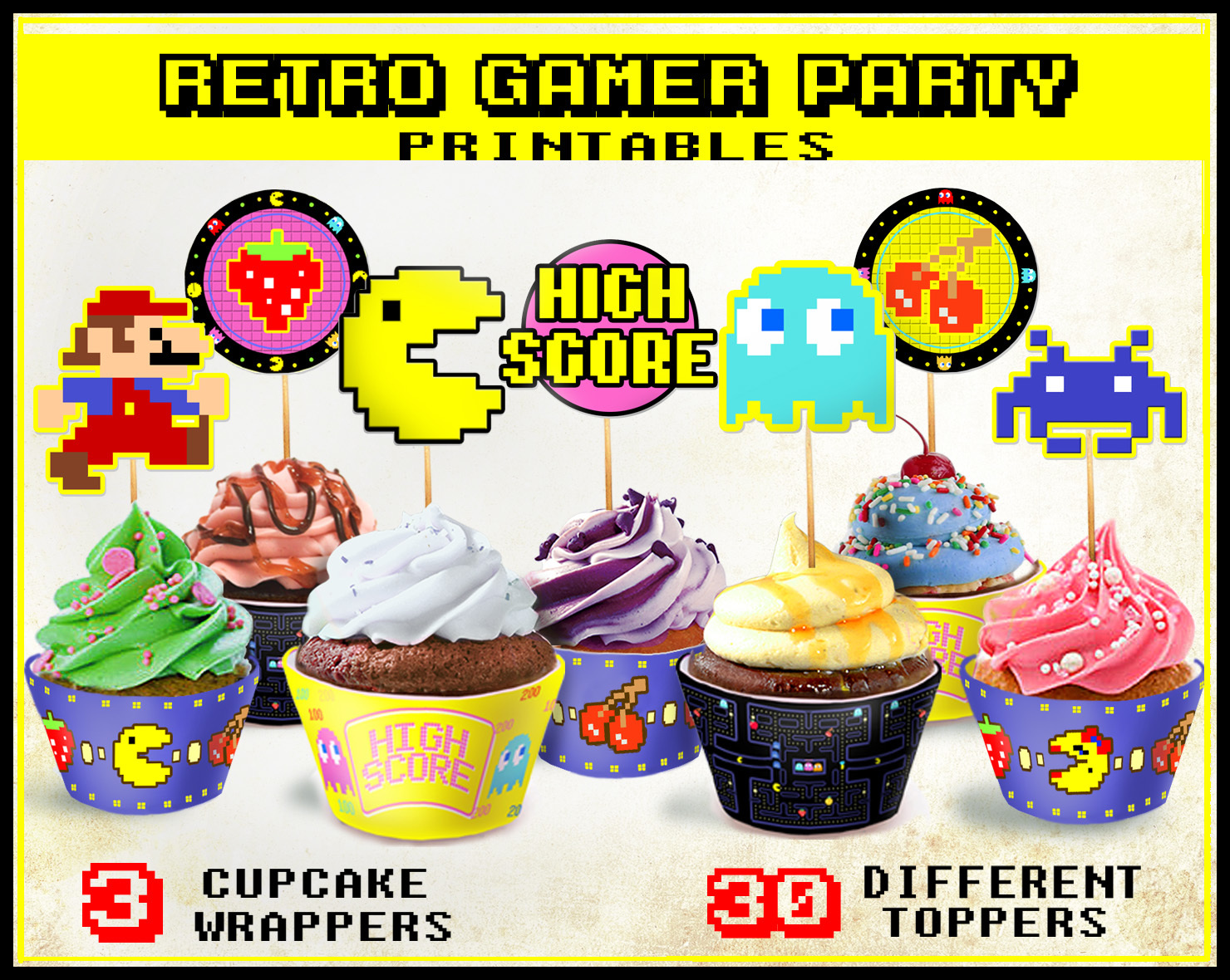 Retro Arcade Game Party Cupcake Toppers And By Cutoutandplay On Zibbet
