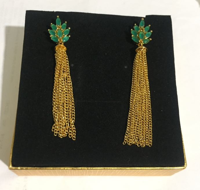 The Green Tassel Earrings