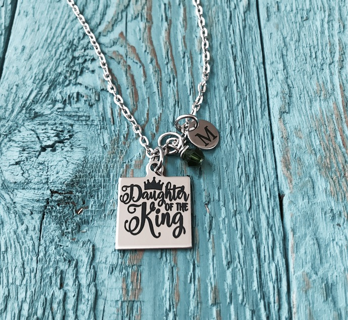 Daughter of the King, Christian, Cross, Silver Necklace, Charm Necklace, Bible