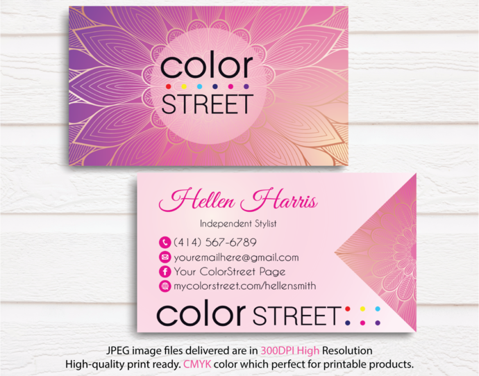 Personalized Color Street Business Cards Color Street Business Cards Color Street Digital File Card Cl33