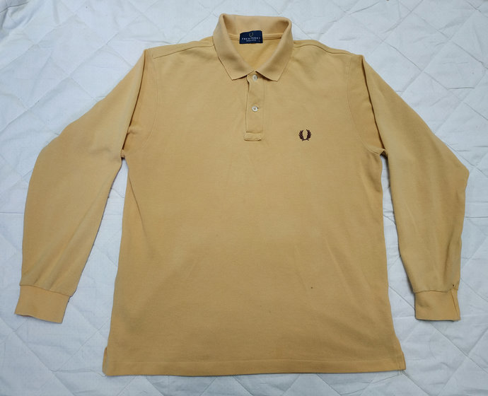 Vintage 90s' FRED PERRY long sleeve polo tshirt embroidered logo Single stitch