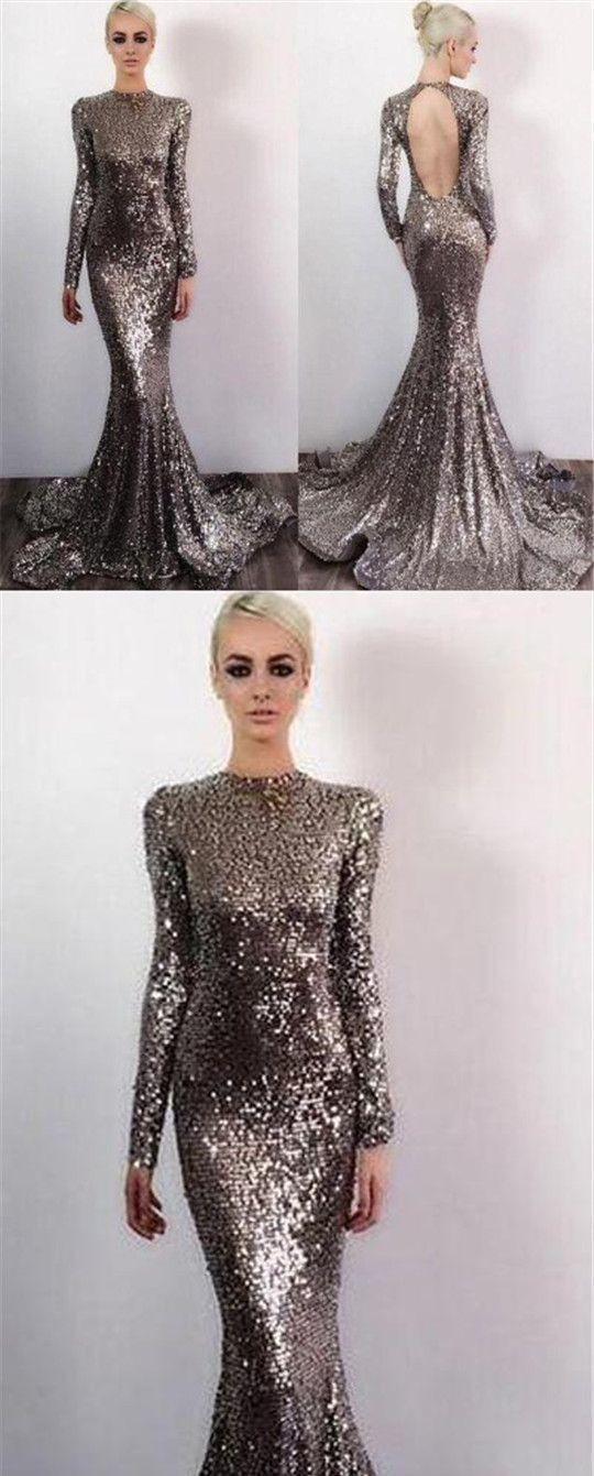 Long Sleeve Sequin Open Back Mermaid Prom Dresses, Shinny Evening Dresses