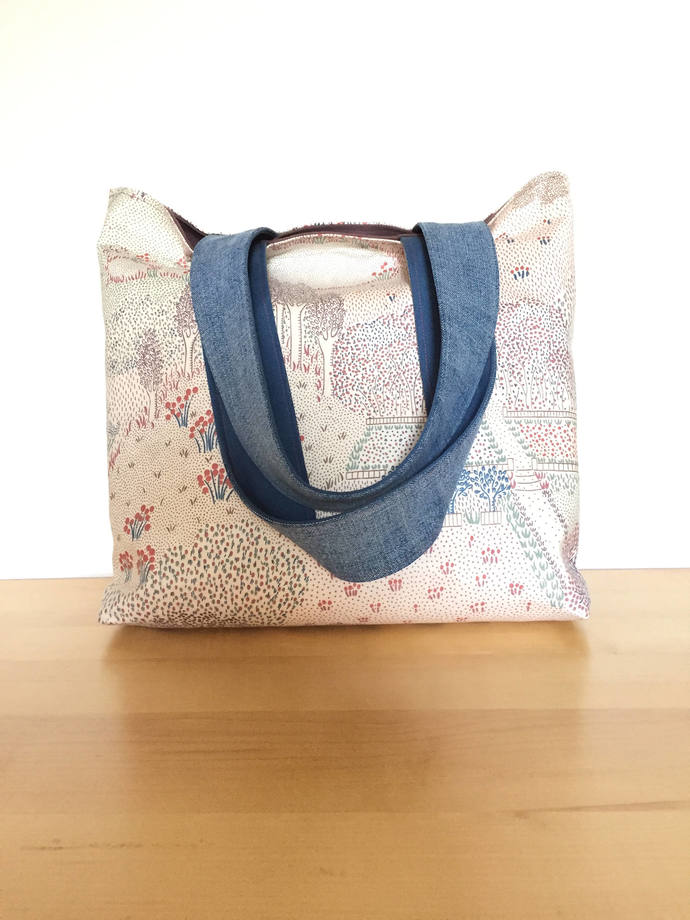 Autumn Trees Tote Bag with Repurposed Denim Straps / One of a Kind Eco-Friendly