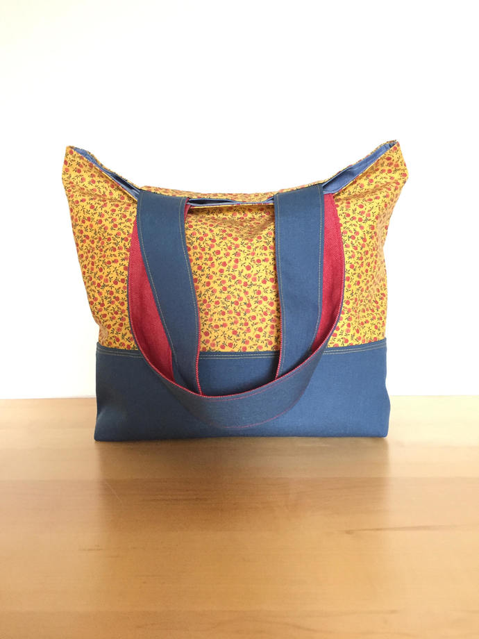 Marigold Floral and Navy Tote Bag / Repurposed Denim / Eco-Friendly Purse / Gym