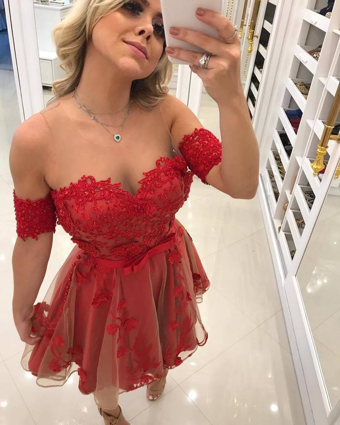 Off The Shoulder A-Line Homecoming Dresses,Short Prom Dresses,Cheap Homecoming