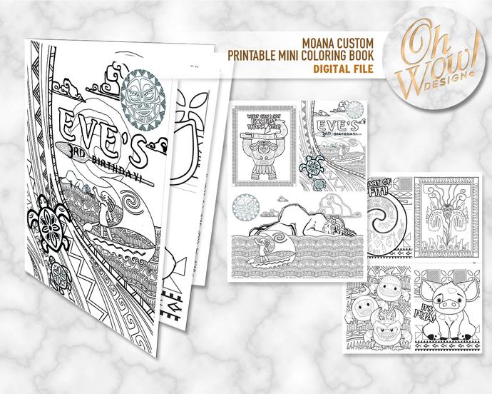 Moana Custom Birthday Mini Coloring Book: Digital file