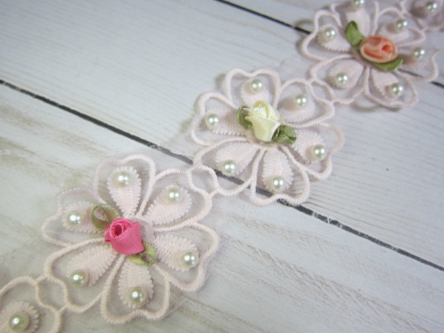 5pcs shabby chic embroidered beaded flower appliques 2