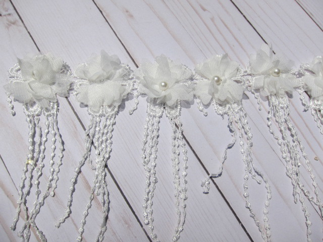 9pcs Dangle Venice Beaded Flower Applique - 7.5""