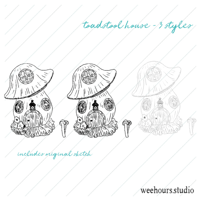 Toadstool house vector for digital scrapbooking, stamps, stationery, handmade