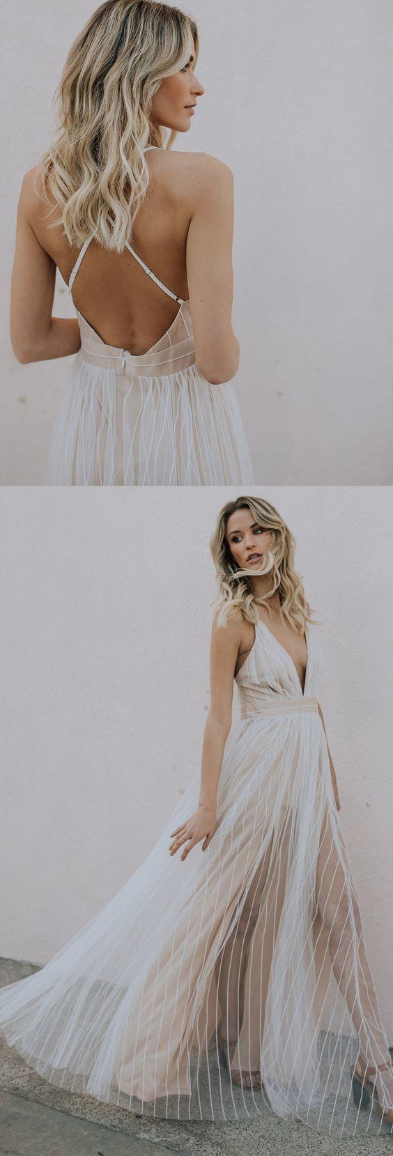 A-Line Deep V-Neck Floor Length Light Champagne Tulle Wedding Dress