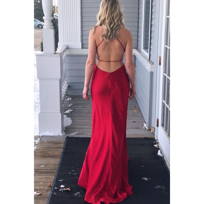 Simply Gorgeous Red Long Prom Dress with Side Slit Brown Ball dresses