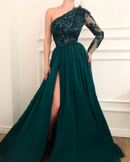 Vestidos de festa One Shoulder Green Evening Dress Muslim Lebanon Dubai Chiffon