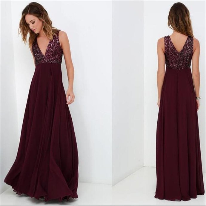 V Neck Floor Length Evening Dress With Sequin By Prom Dresses On