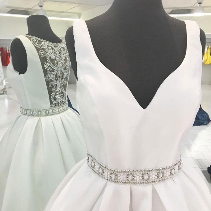 White Homecoming Dresses, A-Line Homecoming Dresses