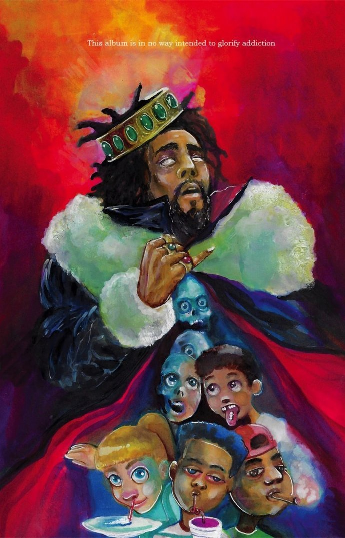 """J. Cole K.O.D.  Polyester Fabric Poster (13""""x19"""" or 18""""x28"""")"""