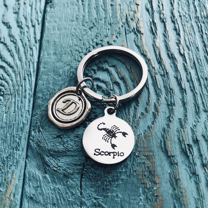 ASTRONOMY, Scorpio, Zodiac, Scorpio Keychain, Scorpio Gift, Scorpio Jewelry,