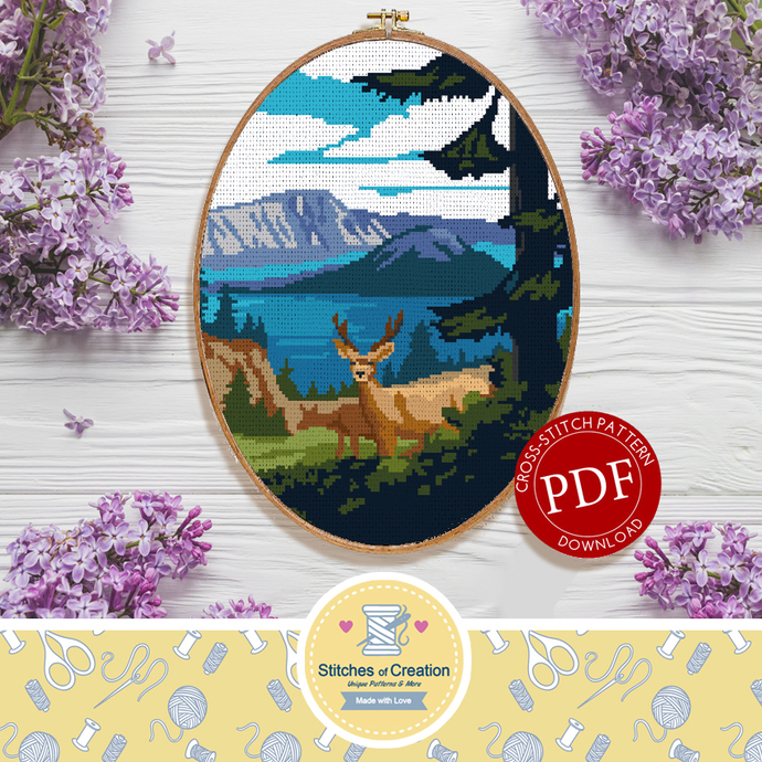 Crater Lake National Park | Digital Download | Cross Stitch Pattern |