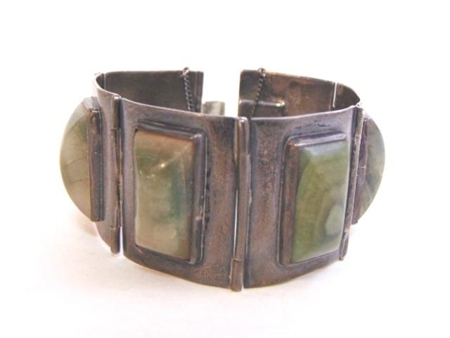 Womens Vintage Estate Mexican Silver Bracelet w/ Zoisite 114.1g E1163
