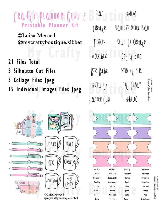 """Crafty Planner Girl 2"" Printable Planner Kit"