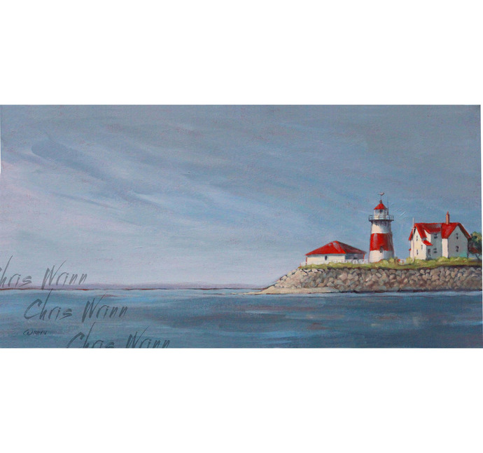 Lighthouse Painting, Stratford, CT, Housatonic River 15x30 inches Gallery Wrap,
