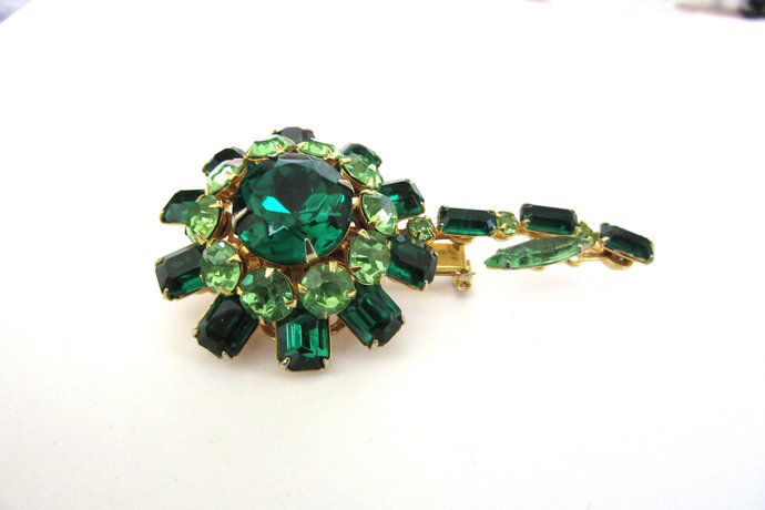 Vintage Prong Set  Two Tone Color Light Dark Emerald Green  Rhinestone Flower