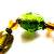 Vintage Murano Glass Stretch Bracelet Chunky Green Beads Strectch Bracelet  Gold