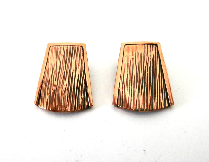 Vintage Renoir Copper Anguler Geometric  Earrings  Clip Earrings Copper