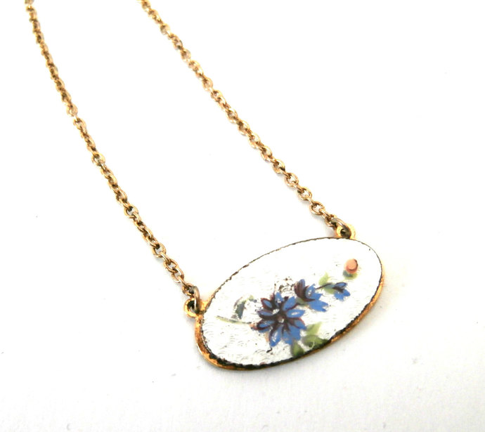 Vintage Small White Guilloche Oval Pendant Necklace Blue Black  Flowers  Green