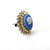 Vintage Blue White Face  Cameo Crystal Glass Rhinestones Statement Ring
