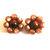 Vintage Lucite  Amber Moon Glow Earrings  Beaded Flower Clip  Earrings Gold Tone